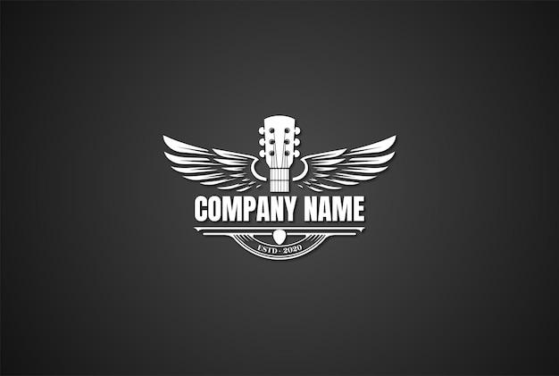Guitarra retro vintage asas asas música logo design vector