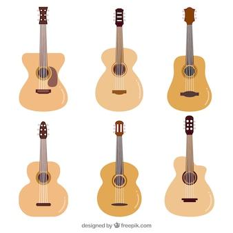 Guitarras acústicas em design plano