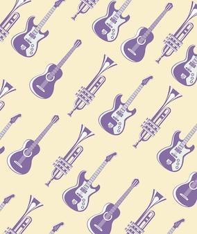 Guitarras elétricas e acústicas com padrão de trompetes