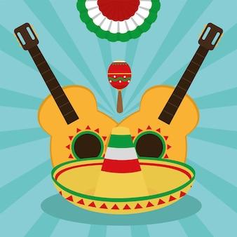 Guitarras mexicanas e chapéu