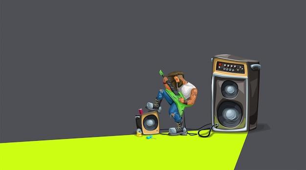 Guitarrista de hard rock tocando no escuro