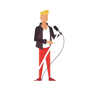 Guitarrista de música pop ou rock. ilustração plana do menino dos desenhos animados do cantor. isolado