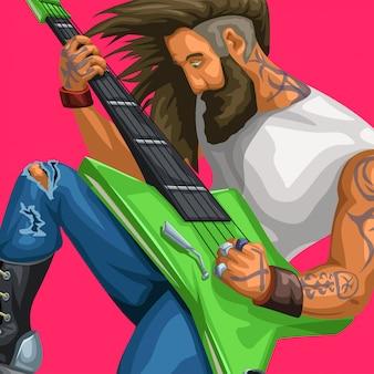 Guitarrista de rock tocando no vermelho