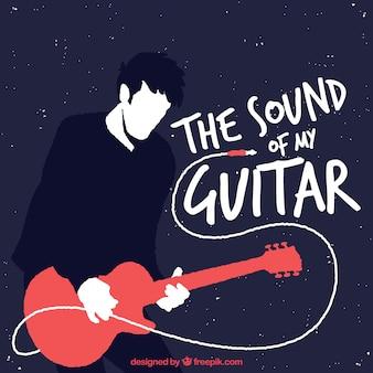 Guitarrista, fundo, apartamento, desenho