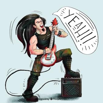 Guitarrista, fundo, desenhado mão, estilo