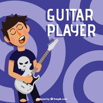 Guitarrista, fundo, liso, desenho