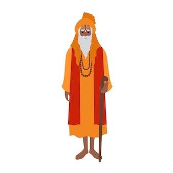Guru indiano usando turbante e roupas tradicionais, segurando uma bengala. clérigo, clérigo ou líder religioso hindu. personagem de desenho animado masculino isolado no fundo branco. ilustração plana colorida.