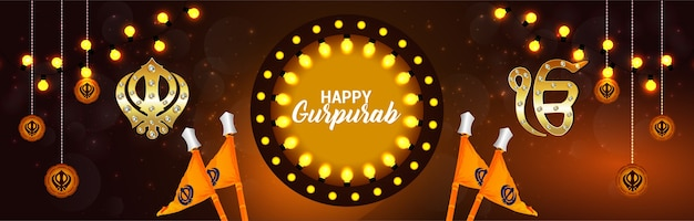 Gurupurab feliz com fundo laranja
