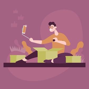 Guy desempacota pacotes e grava vídeos no telefone. ícone de desenho animado plana de vetor de cor. conceito para blogueiro.
