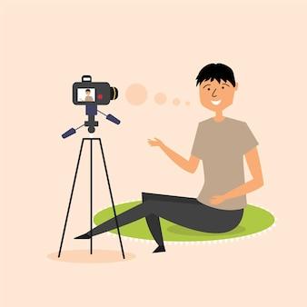 Guy gravação de vídeo blog câmera slr blogger moderno