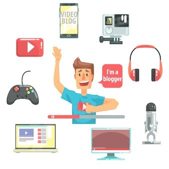 Guy video blogger e seu equipamento de gravação, conjunto de blog e ícones de blog on-line em torno de um apresentador de programa