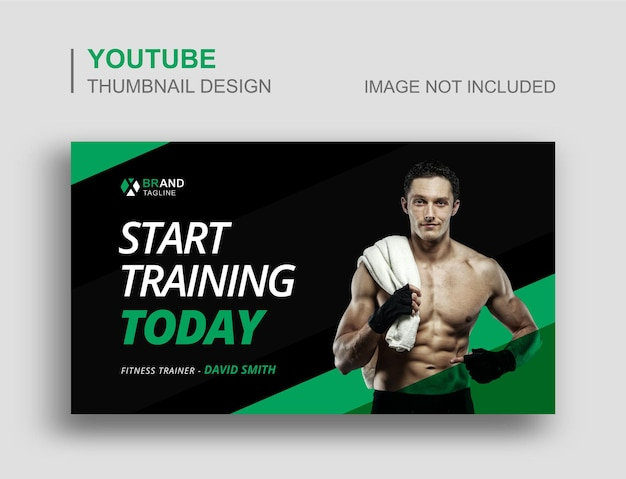 Gym fitness youtube video thumbnail e web banner template