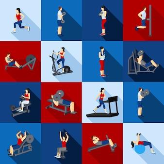 Gym workout people flat set