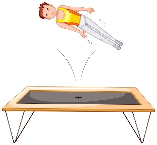 Gymnatist em fundo branco de trampolim