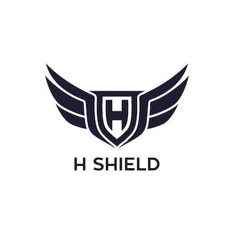 H escudo com design de logotipo de asa