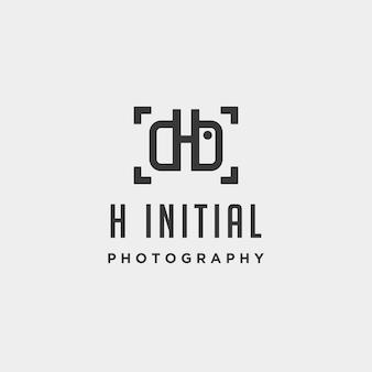 H fotografia inicial logotipo modelo vetor ícone elemento de design