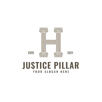 H letter logo justice and law firm pillar bold professional line art