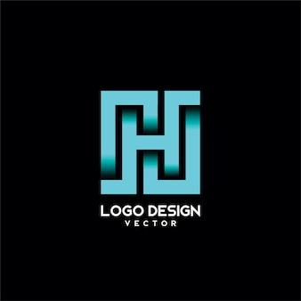 H symbol typography logo design vector