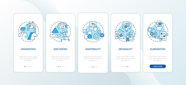 Habilidades de pensamento criativo na tela da página do aplicativo móvel com conceitos