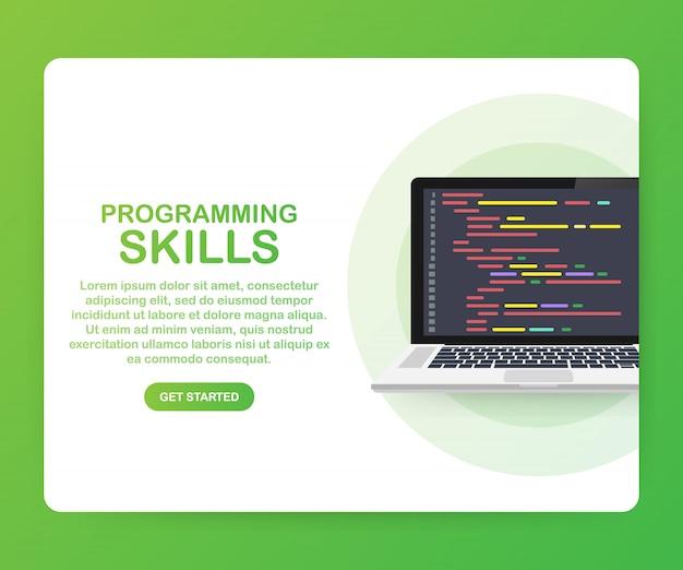 Habilidades de programação para website e modelo para celular