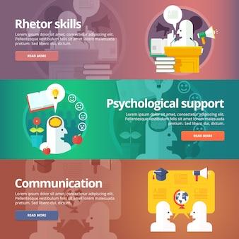 Habilidades do orador. suporte psicológico. arte de falar. conjunto de bandeiras de comunicação social e pessoas. conceito.