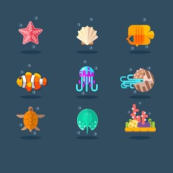 Habitantes do mar e oceano. conjunto de ilustração plana.