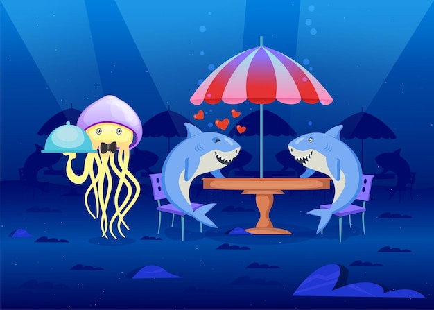 Habitantes do mar em restaurante no fundo do mar. ilustração de desenho animado