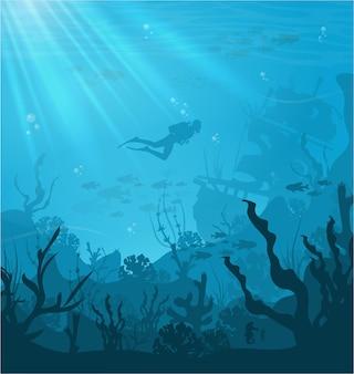 Habitats marinhos de fundo subaquático espécies incríveis