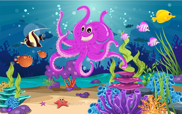 Habitats marinhos e a beleza do coral.