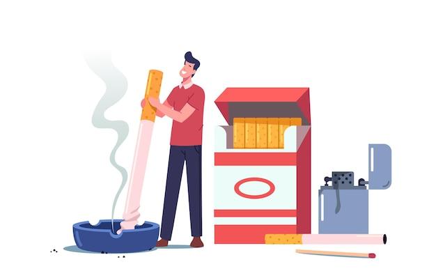 Hábito insalubre, ilustração de dependência de tabaco de fumar nicotina.