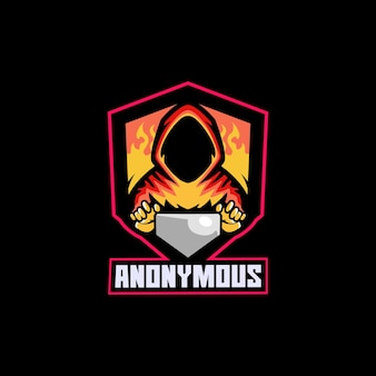 Hacker anônimo gamer humano espião computador online
