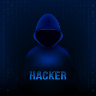 Hacker com capuz, rosto escuro e obscuro, laptop pc.