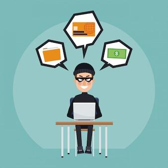 Hacker com laptop e cartão de crédito