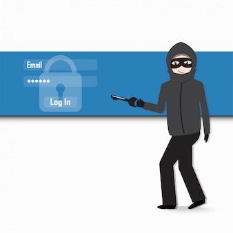 Hacker, conceito de segurança de internet.
