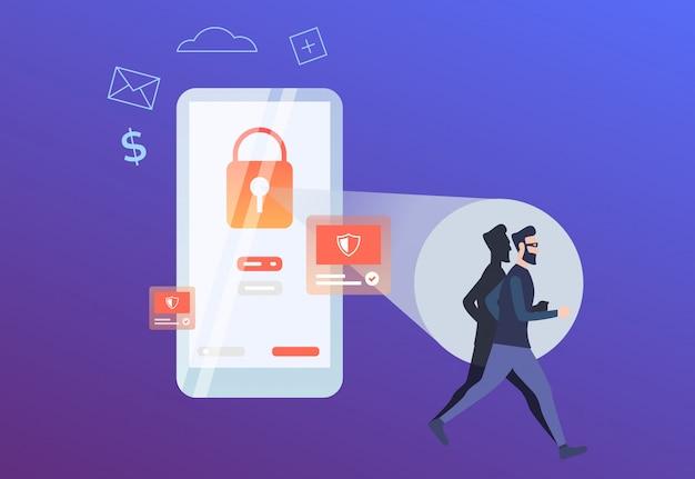 Hacker correndo de bloqueio vermelho na tela do telefone
