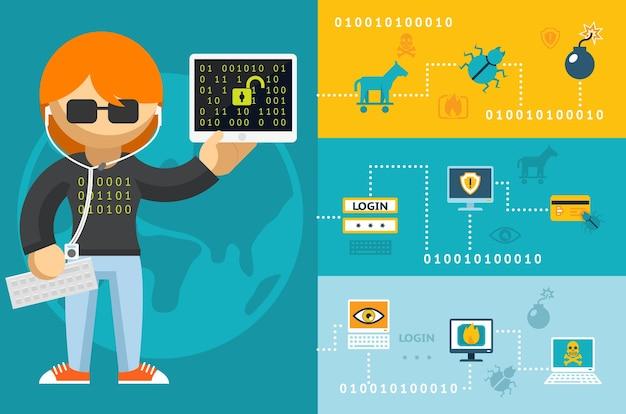 Hacker de computador de desenho animado colorido com ícones de acessórios