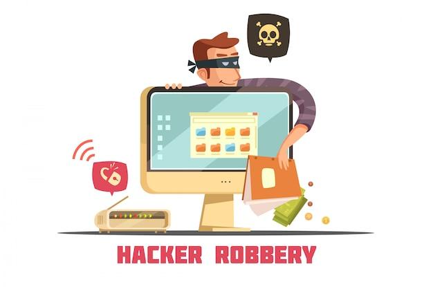 Hacker de computador quebrando o código de segurança para acessar conta bancária e roubar dinheiro