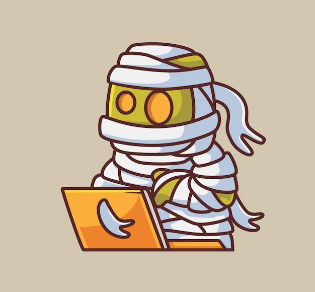 Hacker de múmia zumbi egípcio bonito desenho isolado ilustração de halloween estilo simples