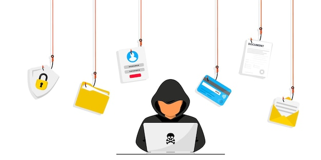Hacker e criminosos cibernéticos que roubam dados pessoais privados, login de usuário, senha, documento, e-mail e cartão de crédito. phishing e fraude, golpe e roubo online. hacker sentado na mesa