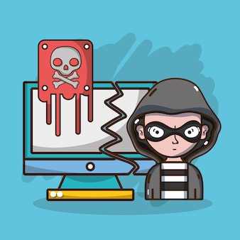 Hacker e tecnologia de sistema de segurança
