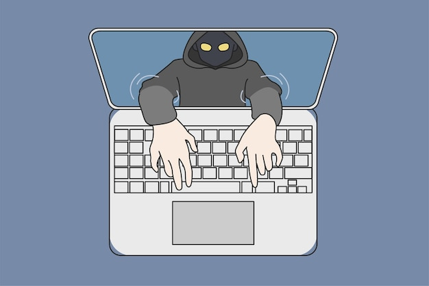 Hacker fazendo phishing online em computador roubando dados