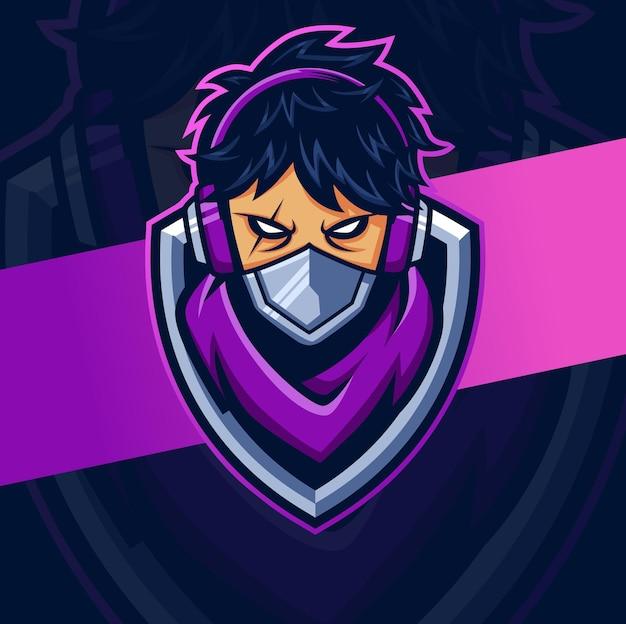 Hacker feminino, ciborgue, mascote esport, personagem de design de logotipo para jogos