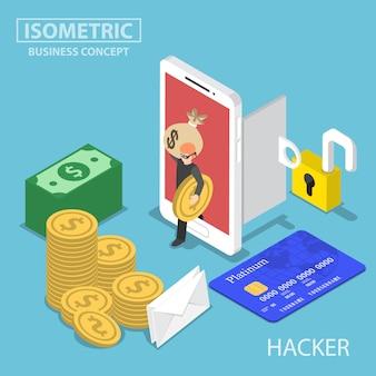 Hacker isométrico rouba dinheiro e dados do smartphone