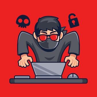 Hacker opera a ilustração dos desenhos animados do laptop