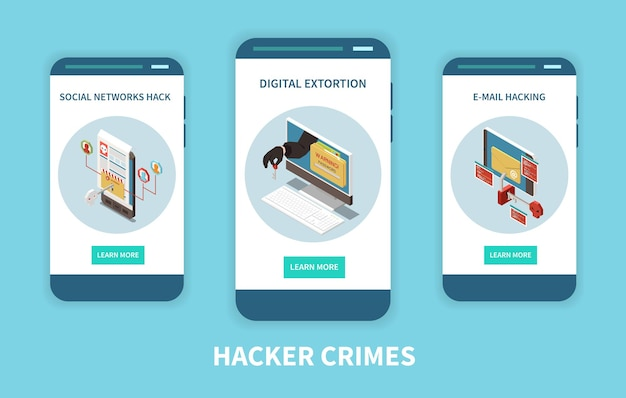 Hacker pescando banner de conceito isométrico de crime digital