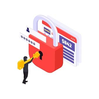 Hacker quebrando bloqueio para obter acesso a informações pessoais no computador isométrico