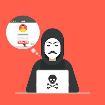 Hacker sentado na área de trabalho e invadindo o login do usuário