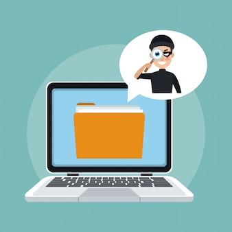 Hacker tentando ladrão informações do laptop