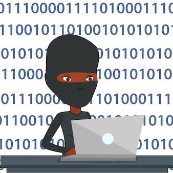 Hacker usando laptop para roubar informações.