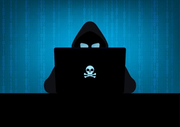 Hacker usando silhueta de laptop com logotipo de caveira e ossos cruzados no fundo azul do código binário